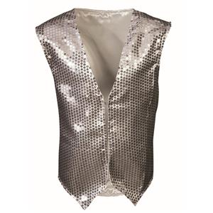 Silver Sequin Vest  Child Dazzle Dapper Accessory 1980s Up to Size 10