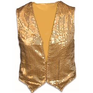 Gold Sequin Vest Adult Dazzle Dapper Accessory 1980s Up to Size 42