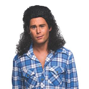 Black Long Curly Billy Ray Perm Mullet Wig