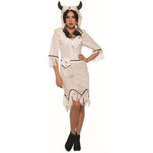 White Buffalo Spirit Native American Warrior Adult Womens Costume