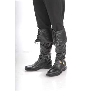 Deluxe Black Adult Pirate Boot Covers with Studs