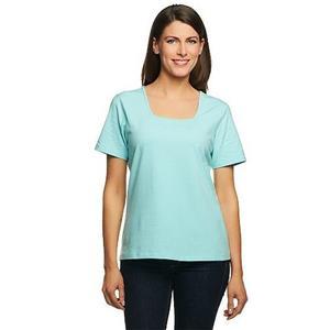 Denim & Co Essentials 1X Light Aqua Perfect Jersey Short Sleeve Square Neck Top