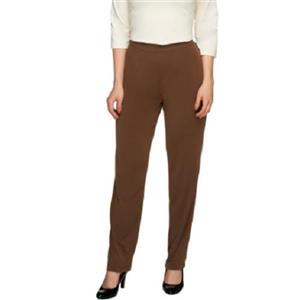 Susan Graver Essentials 2X (Petite) Vintage Brown Liquid Knit Straight Leg Pants