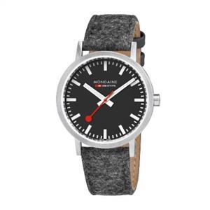 Mondaine Swiss Railways Watch. Fuzzy Fabric/Leather Strap Mens A660.30360.14SBH