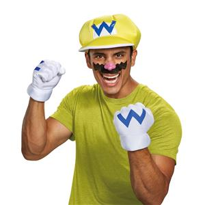 Disguise Super Mario Bros. Wario Adult Costume Kit One Size Gloves Hat Mustache