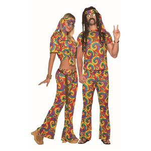 Tie Dye Far Out Hippie Unisex Adult Shirt and Pants Costume