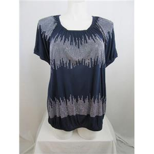 INC International Concepts Woman Size 3X Dark Navy Silver Stud Design Top