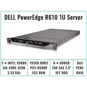 DELL PowerEdge R610 Server + 2xSix-Core Xeon 3.33GHz + 192GB RAM + 6x600GB RAID