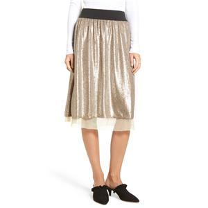 New Sz L Free People Flashing Lights Taupe Sequin Mesh Lined Midi Skirt