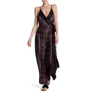 10 New Free People Cabbage Rose Wrap Front Jumpsuit in black Combo