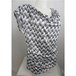 INC International Concepts Woman Size 2X Grey Print Drape Neck Top w/Cap Sleeves