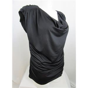 INC International Concepts Woman Size 2X Black Drape Neck Top w/Cap Sleeves