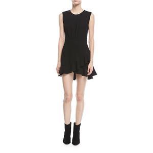 NEW Sz 38/6 Iro Arcas Sleeveless Fit-and-Flare Flounce Hem Mini Dress in Black