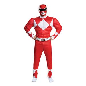 Red Ranger Power Rangers Classic Deluxe Adult Costume XXL 50-52