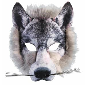 Wolf Mask 3D Screen Print Realistic Look Soft Face Mask Fun Fur Adult Or Child