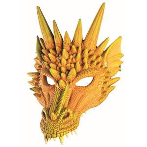 Yellow Orange Dragon Adult Dinosaur Latex Half Mask