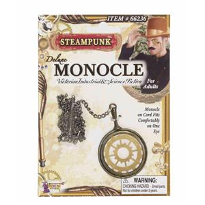 Steampunk Deluxe Monocle with Glass Lens and Metal Chain