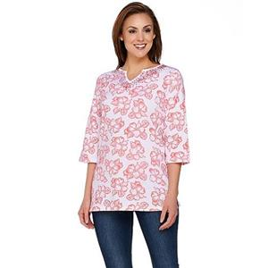 Quacker Factory Size 2X Bright Coral Island Floral 3/4 Sleeve Tunic