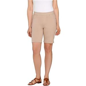 Susan Graver Size 1X Latte Weekend French Knit Pull-On Bermuda Shorts