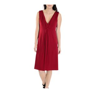 4 NWT Authentic Laundry By Shelli Segal Red Sleeveless Knot Front Shirred Dress