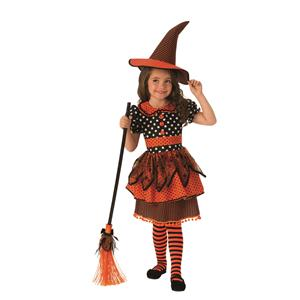 Orange and Black Polka Dot Witch Girls Costume Size Small 4-6