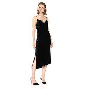 NEW Sz L AG Adriano Goldschmied True Black Velvet Gia Slip Dress