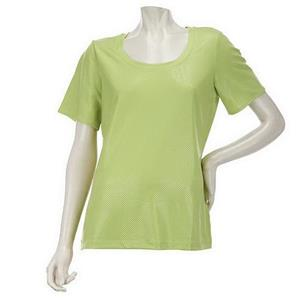 Susan Graver Size 2X Fresh Lime Textured Knit U-neck Top with Short Sleeves