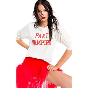 Wildfox Women's Part Vampire Long Sleeve Beach Sweater in Vanilla
