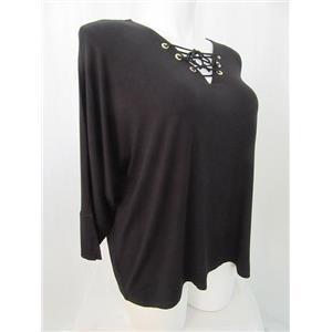 Calvin Klein Size 2X Jet Black w/Black Strings V-Neck Lace Up Grommet Detail Top