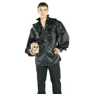 Black Satin Pirate or Renaissance Costume Shirt (Shirt Only) Size Standard