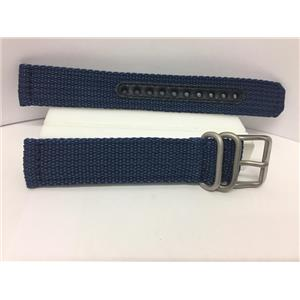 Seiko Watchband SNK807 18mm Blue Fabric Strap.Washable W/Pins Steel Bkle/Keepers