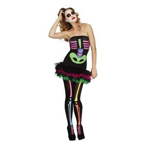 Fever Neon Skeleton Tutu Dress Women's Costume Size Medium 10-12