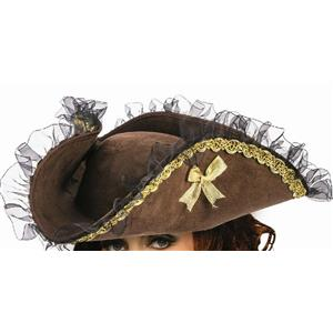 Forum Novelties Womens Brown Tricorner Tricorn Pirate Hat Costume Accessory