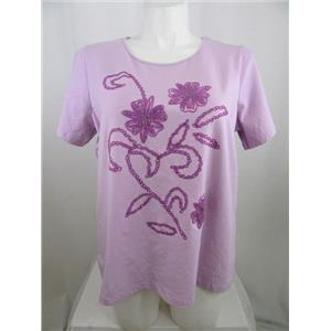 Susan Graver size 1X Lilac Stretch Cotton Short Sleeve Embroidered T-shirt