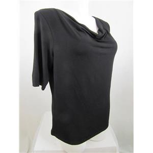 Jones New York Collection Woman Size 1X Black Short Sleeve Drape Neck Top