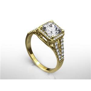 2 CT RADIANT CUT E/VS1  ENHANCED DIAMOND ENGAGEMENT RING 14K YELLOW GOLD