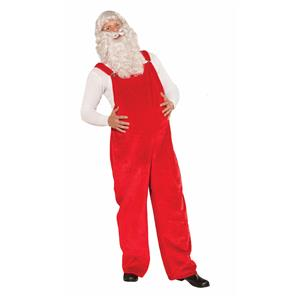 Red Santa Claus Overalls Old Time Kris Kringle Costume Accessory