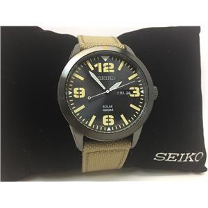 Seiko Watch SNE331 Solar Military Style Black Steel Case Beige Strap.Day/Date
