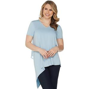 Lisa Rinna Collection Size 3X Chambray V-Neck Top with Chiffon Back Detail