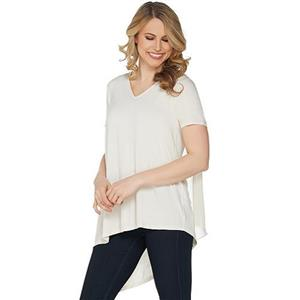 Lisa Rinna Collection Size 1X Ivory V-Neck Top with Chiffon Back Detail