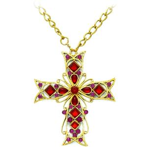 Forum Novelties Gold and Purple Gothic Cross Necklace