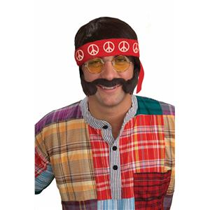 Male Hippie Wig Mustache Headband Costume Accessory Kit