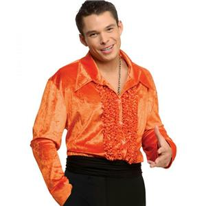 Orange Ruffled Velvet Disco Shirt 70's Small