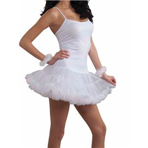 White Slip Dress With Attached Crinoline Adult Costume