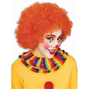 Orange Volunteer School Spirit Afro Clown Wig