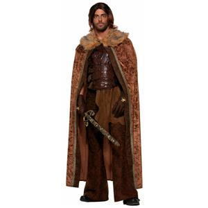 Faux Fur Trimmed Brown Adult Medieval Costume Cape