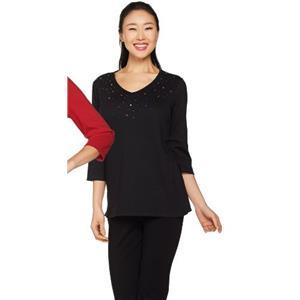 Quacker Factory Size 2X Black Embellished 3/4 Sleeve T-shirt