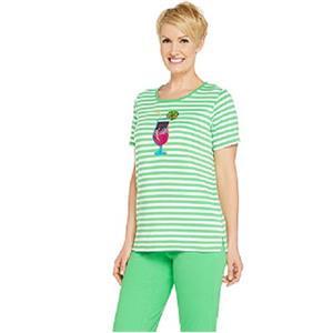 Quacker Factory Size 2X Green Drink Summer Sequined T-shirt