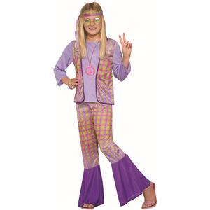 Generation Hippie Love Child Girls Halloween Costume 1970s Flower Power MD 8-10