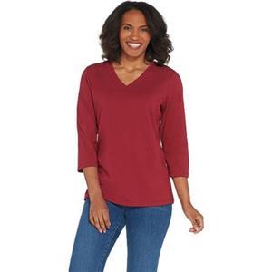 Denim & Co. Essentials Size 2X Cranberry V-Neck 3/4-Sleeve Top